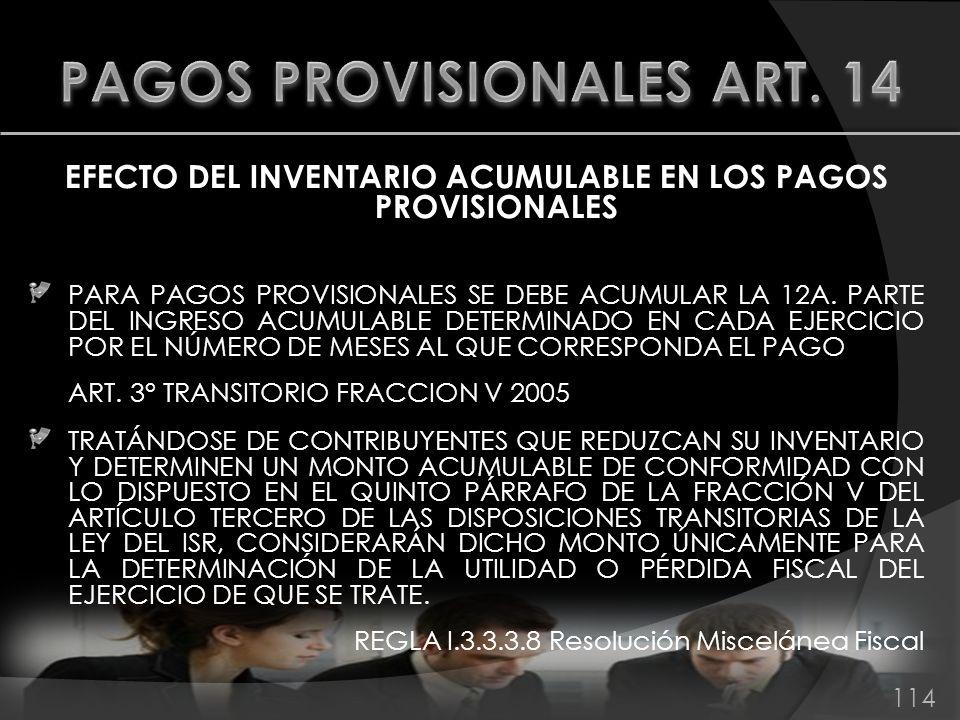 PAGOS PROVISIONALES ART. 14