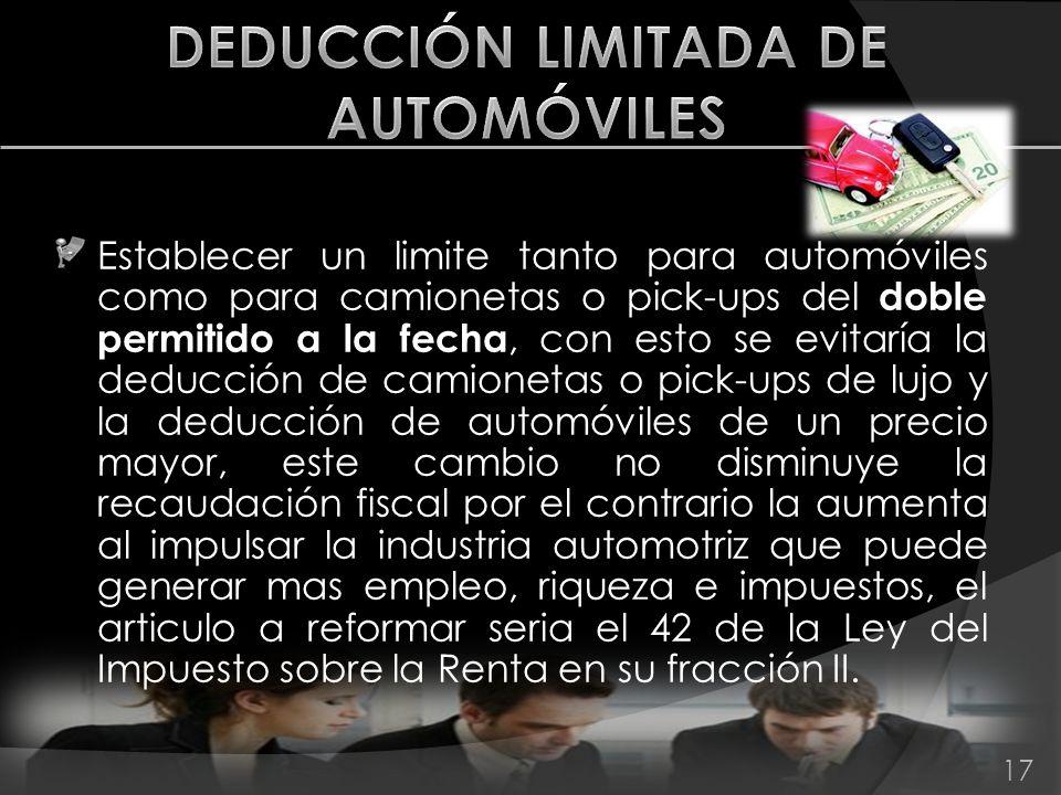 DEDUCCIÓN LIMITADA DE AUTOMÓVILES