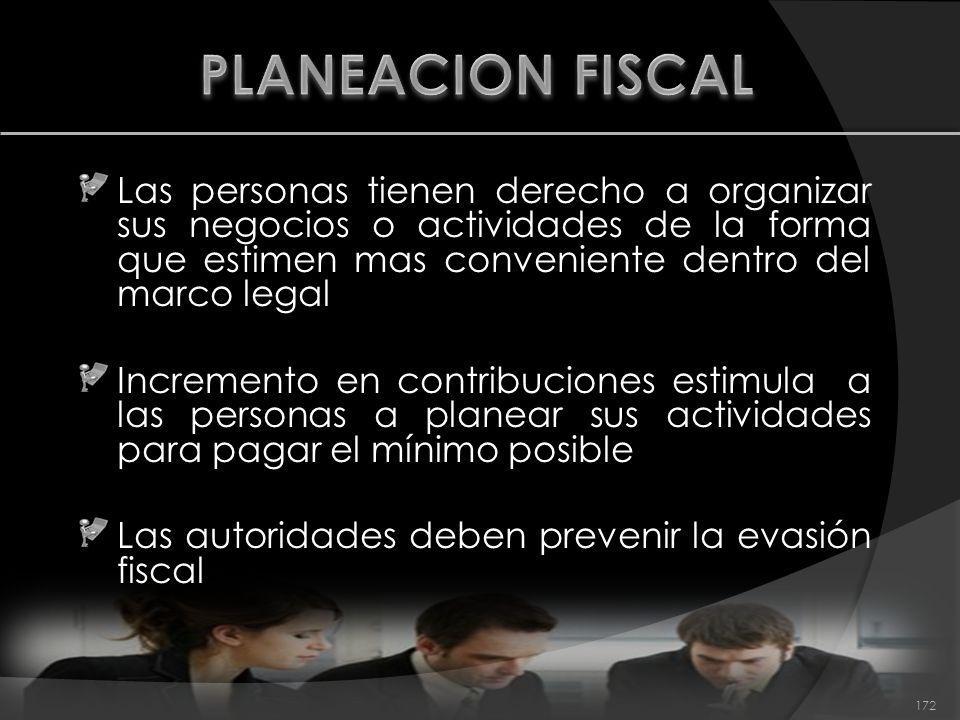 PLANEACION FISCAL Las personas tienen derecho a organizar sus negocios o actividades de la forma que estimen mas conveniente dentro del marco legal.