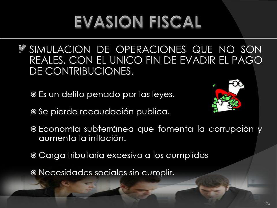 EVASION FISCAL SIMULACION DE OPERACIONES QUE NO SON REALES, CON EL UNICO FIN DE EVADIR EL PAGO DE CONTRIBUCIONES.
