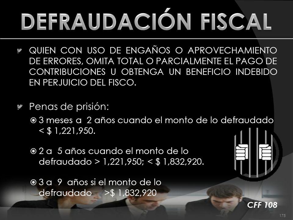 DEFRAUDACIÓN FISCAL Penas de prisión:
