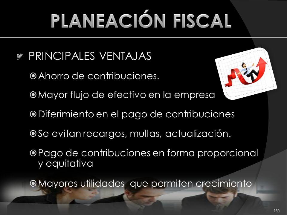 PLANEACIÓN FISCAL PRINCIPALES VENTAJAS Ahorro de contribuciones.