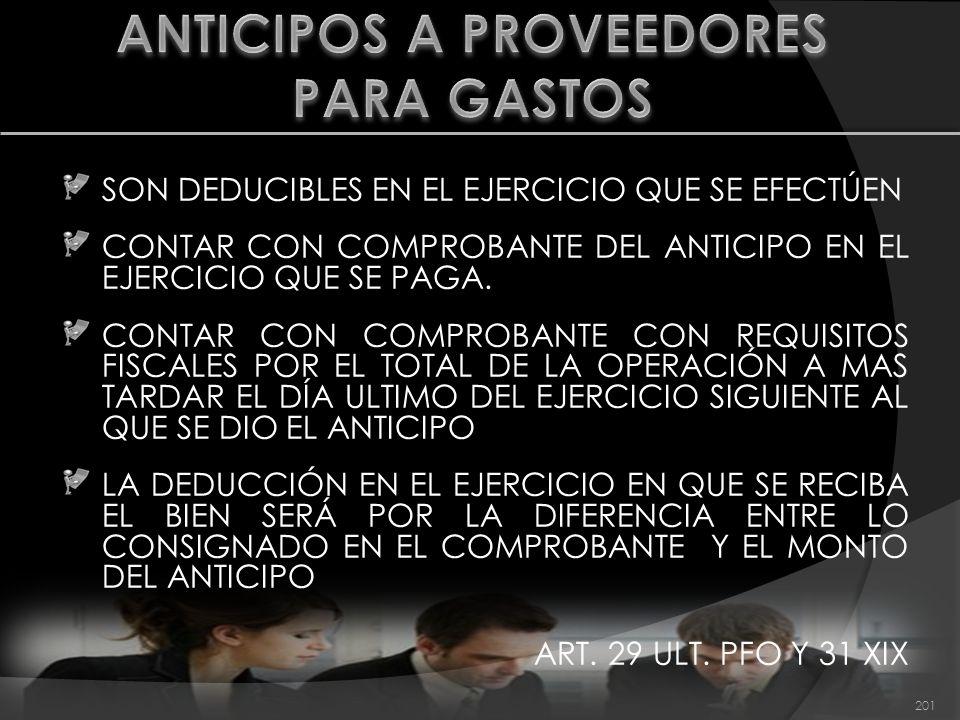 ANTICIPOS A PROVEEDORES PARA GASTOS