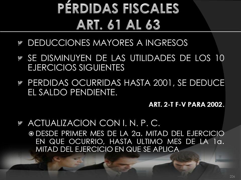 PÉRDIDAS FISCALES ART. 61 AL 63