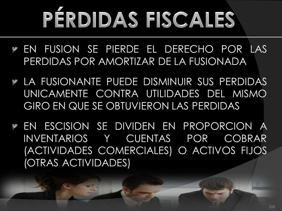 PÉRDIDAS FISCALES EN FUSION SE PIERDE EL DERECHO POR LAS PERDIDAS POR AMORTIZAR DE LA FUSIONADA.