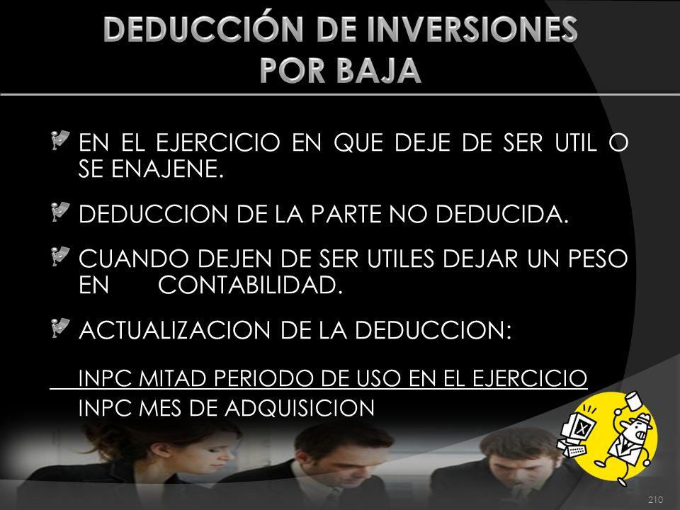 DEDUCCIÓN DE INVERSIONES POR BAJA
