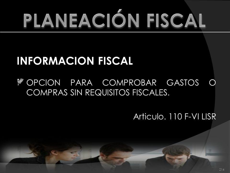 PLANEACIÓN FISCAL INFORMACION FISCAL