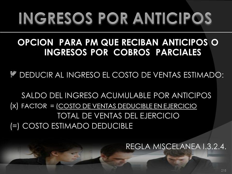 INGRESOS POR ANTICIPOS