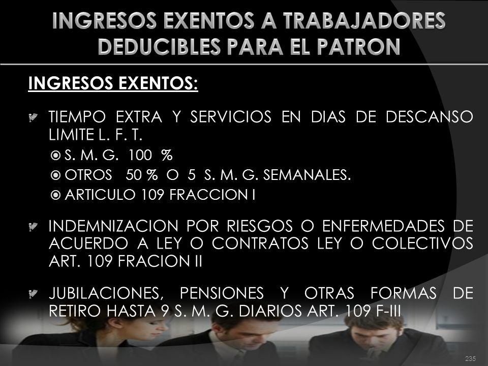 INGRESOS EXENTOS A TRABAJADORES DEDUCIBLES PARA EL PATRON