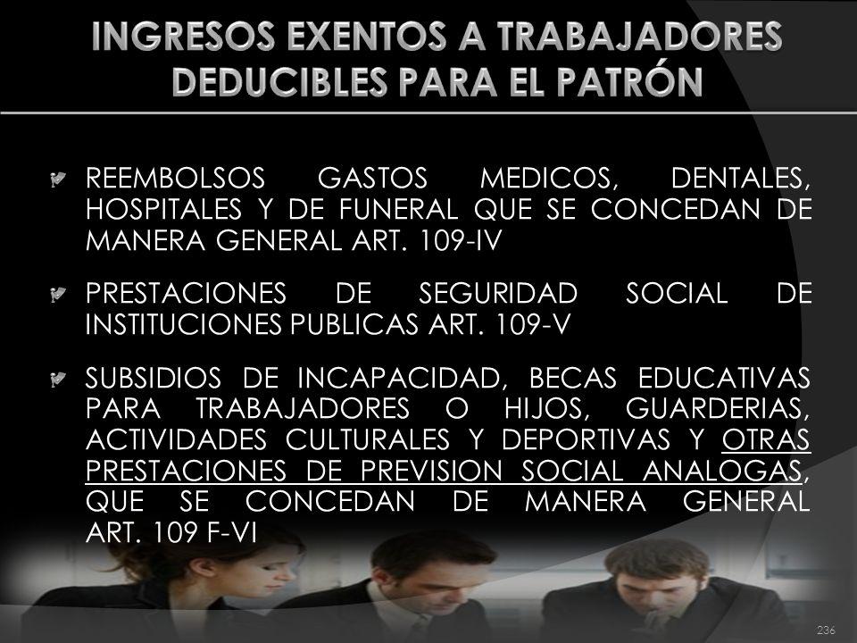 INGRESOS EXENTOS A TRABAJADORES DEDUCIBLES PARA EL PATRÓN