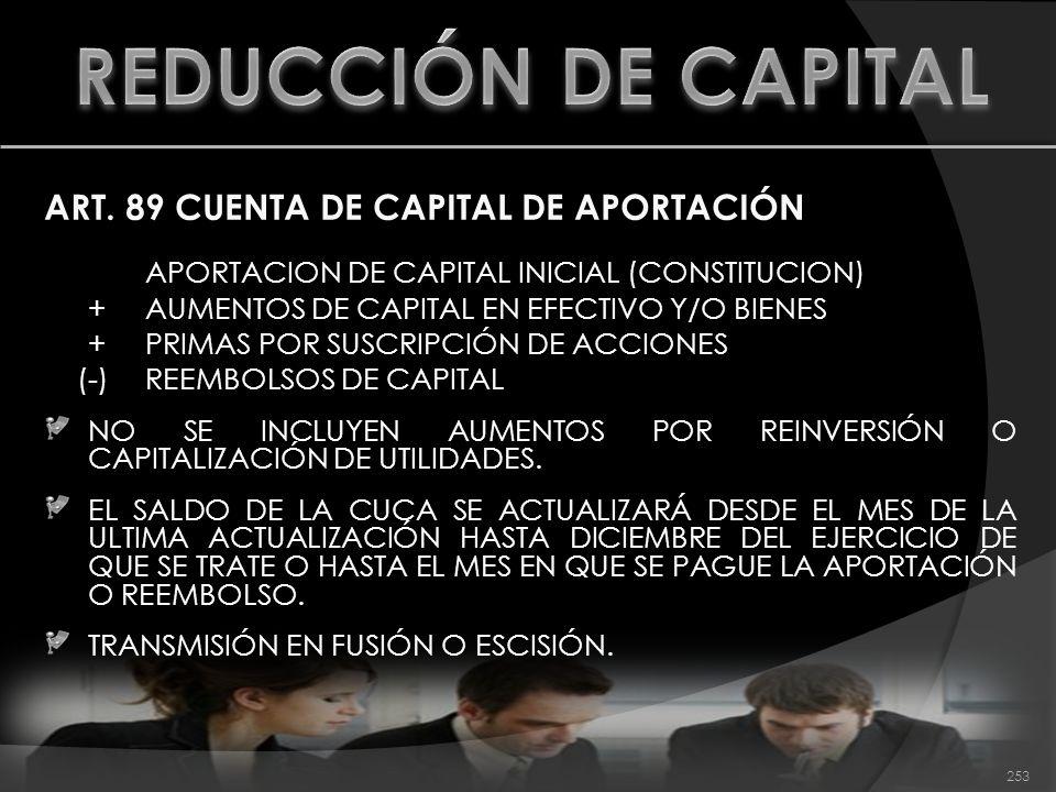 REDUCCIÓN DE CAPITAL ART. 89 CUENTA DE CAPITAL DE APORTACIÓN