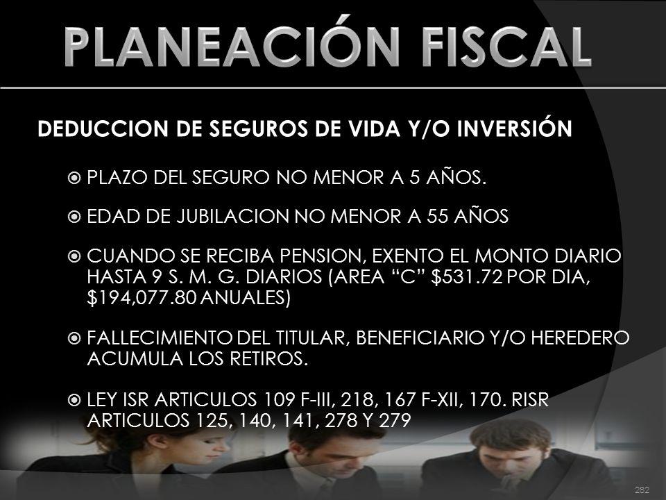 PLANEACIÓN FISCAL DEDUCCION DE SEGUROS DE VIDA Y/O INVERSIÓN