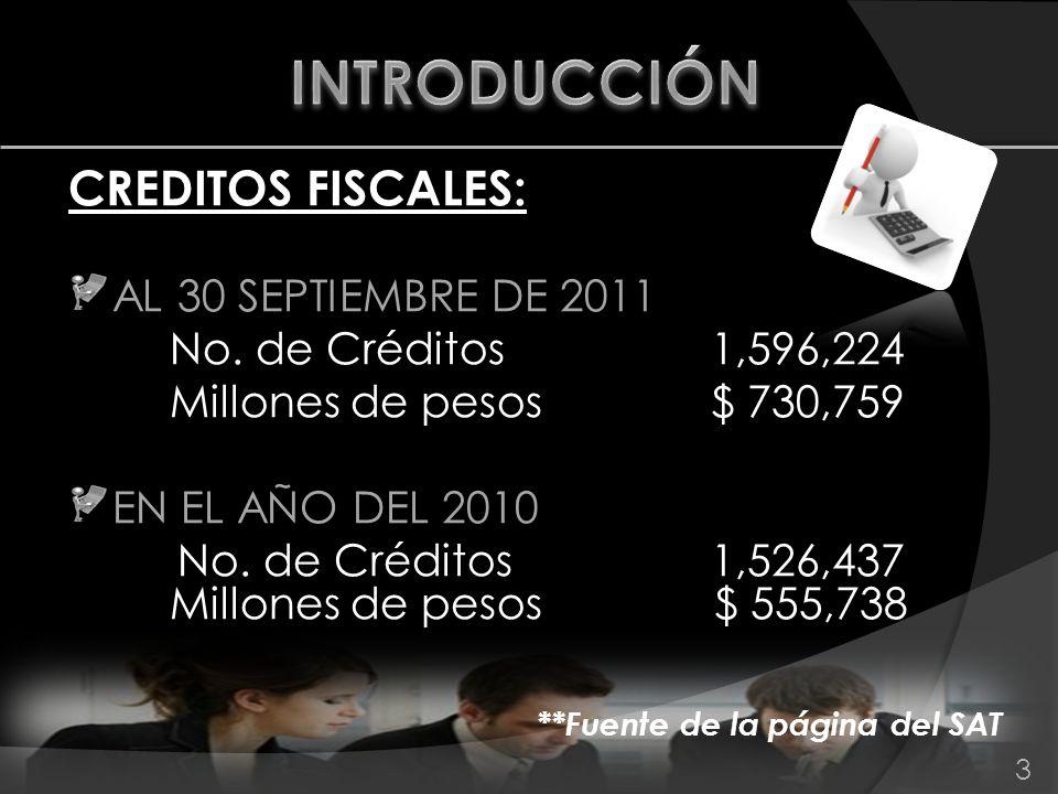 INTRODUCCIÓN CREDITOS FISCALES: AL 30 SEPTIEMBRE DE 2011