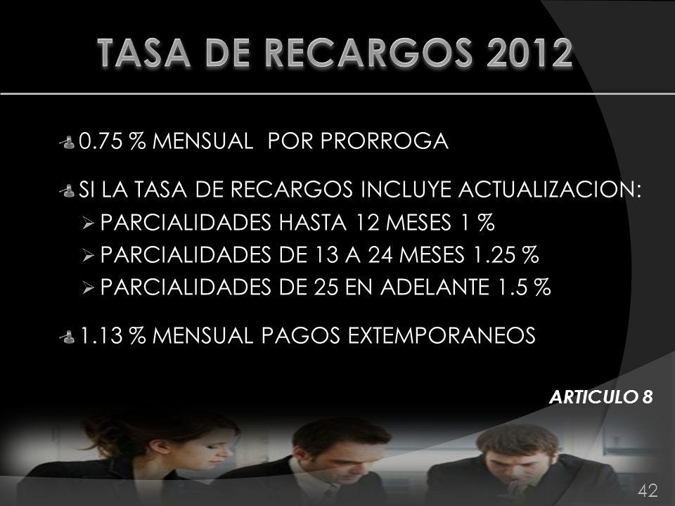 TASA DE RECARGOS 2012 0.75 % MENSUAL POR PRORROGA