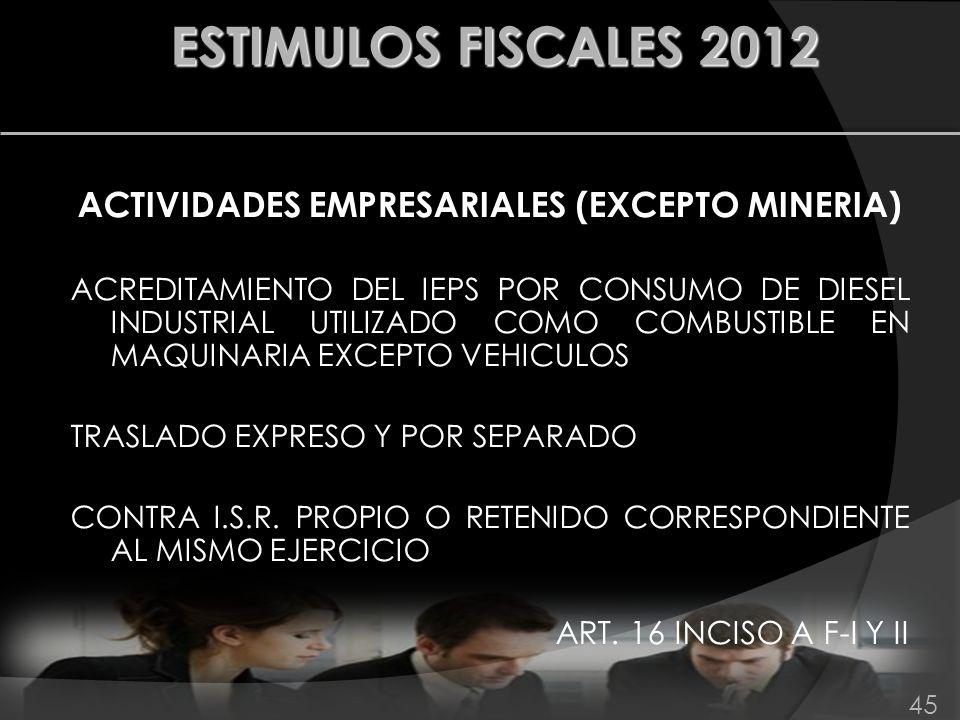 ACTIVIDADES EMPRESARIALES (EXCEPTO MINERIA)