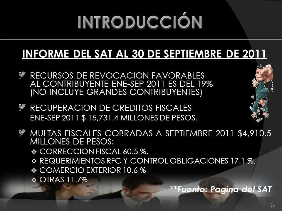 INFORME DEL SAT AL 30 DE SEPTIEMBRE DE 2011