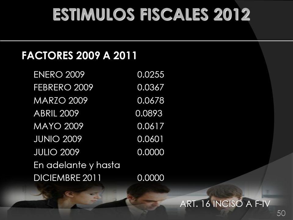 ESTIMULOS FISCALES 2012 FACTORES 2009 A 2011 ENERO 2009 0.0255