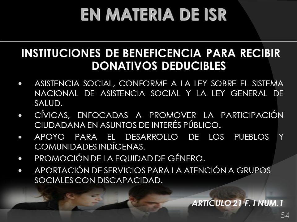 INSTITUCIONES DE BENEFICENCIA PARA RECIBIR DONATIVOS DEDUCIBLES