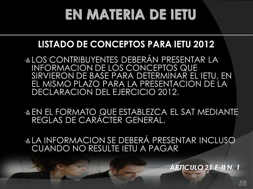 LISTADO DE CONCEPTOS PARA IETU 2012