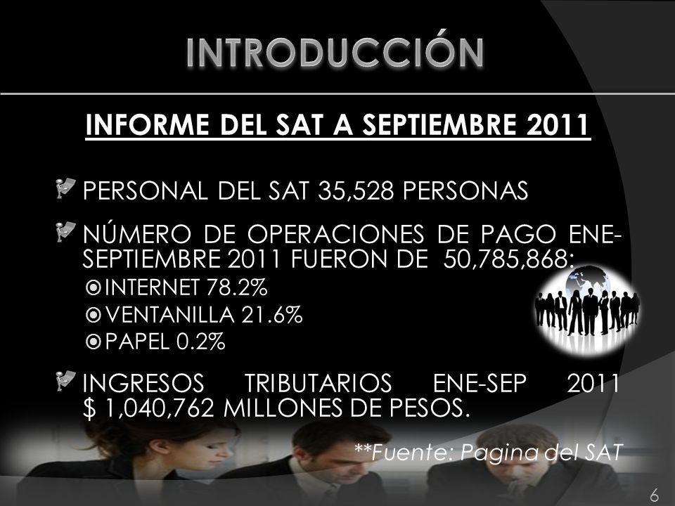 INFORME DEL SAT A SEPTIEMBRE 2011