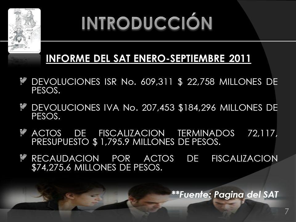 INFORME DEL SAT ENERO-SEPTIEMBRE 2011