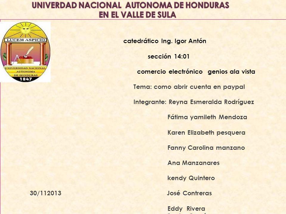 . UNIVERDAD NACIONAL AUTONOMA DE HONDURAS EN EL VALLE DE SULA u