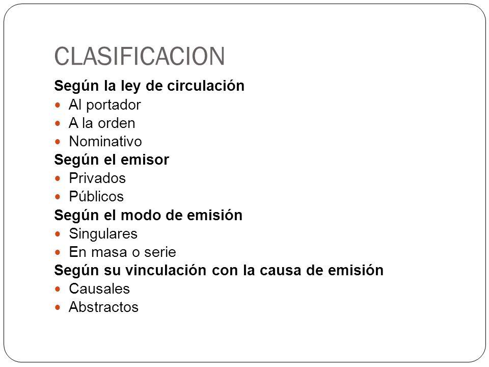 CLASIFICACION Según la ley de circulación Al portador A la orden