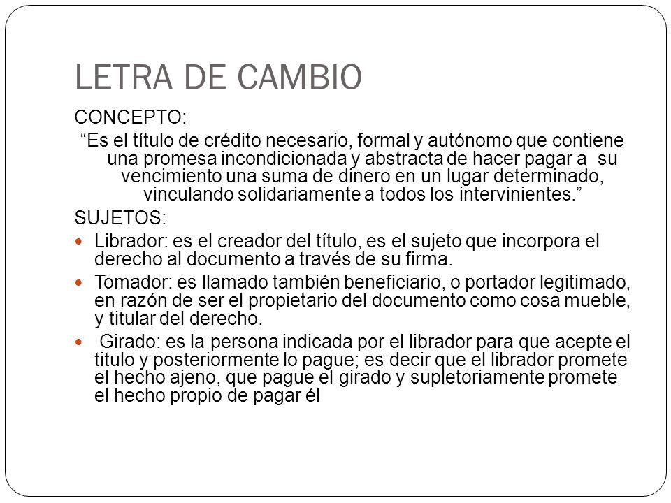 LETRA DE CAMBIO CONCEPTO: