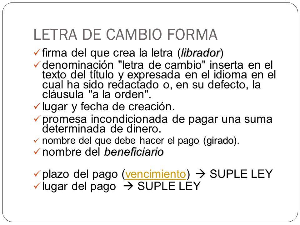 LETRA DE CAMBIO FORMA firma del que crea la letra (librador)