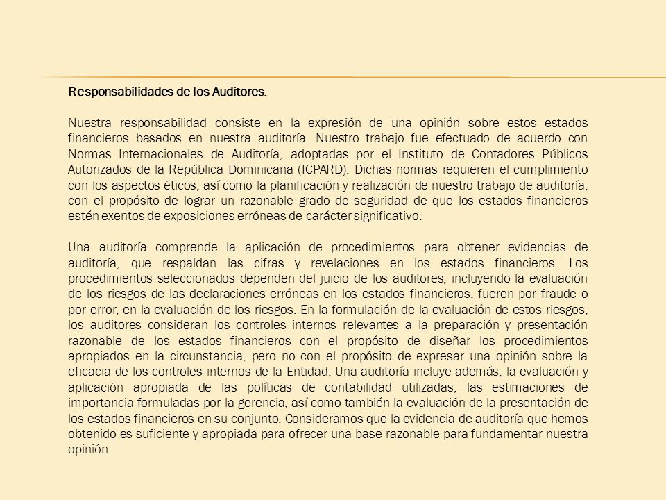 Responsabilidades de los Auditores.