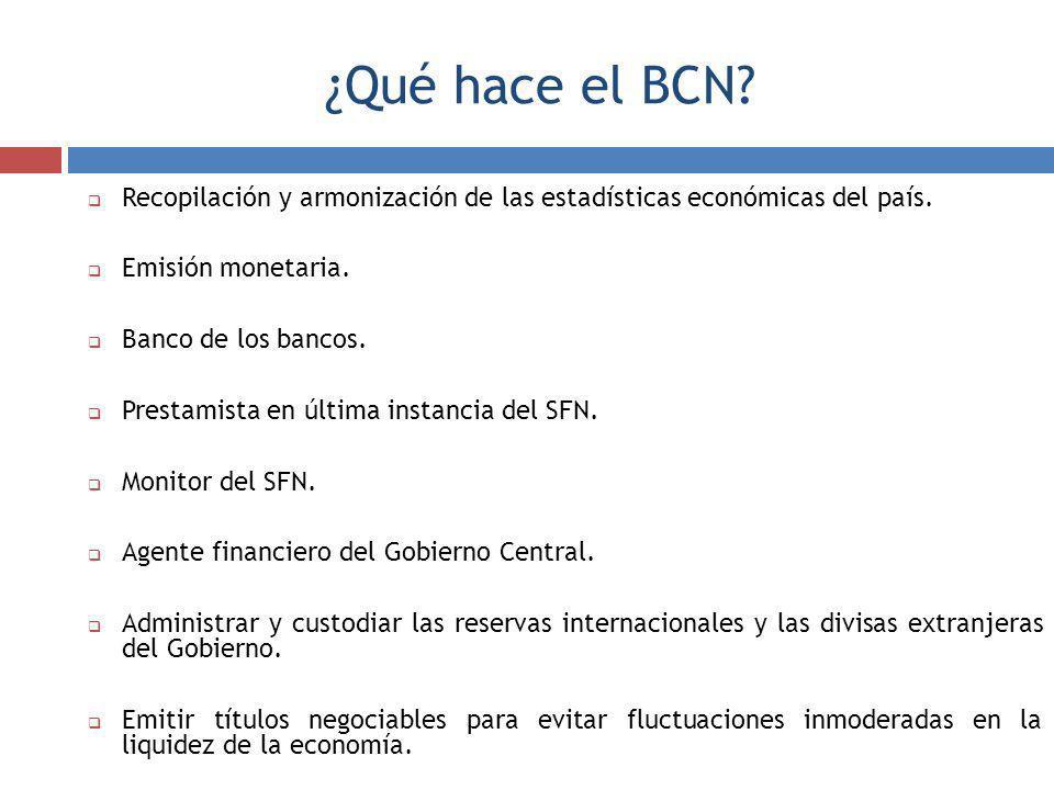 ¿Qué hace el BCN Recopilación y armonización de las estadísticas económicas del país. Emisión monetaria.