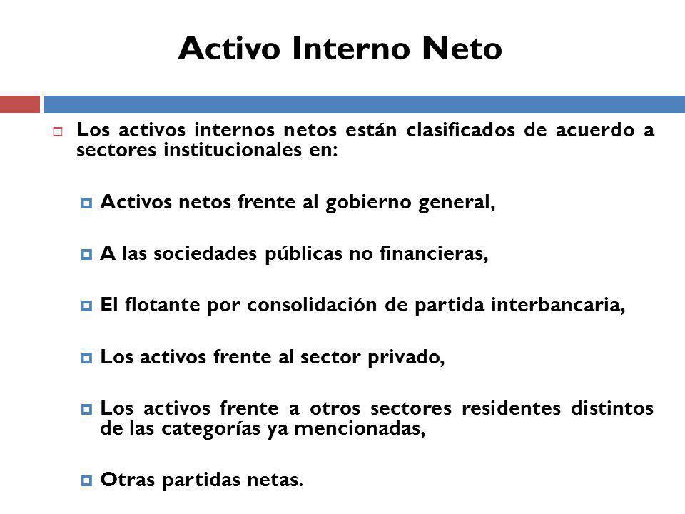 Activo Interno Neto Los activos internos netos están clasificados de acuerdo a sectores institucionales en: