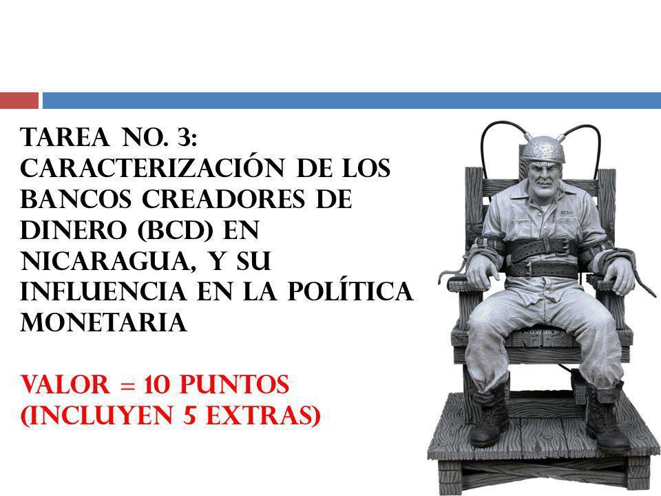 TAREA No. 3: CARACTERIZACIÓN DE LOS BANCOS CREADORES DE DINERO (bcd) EN NICARAGUA, Y SU INFLUENCIA EN LA POLÍTICA MONETARIA