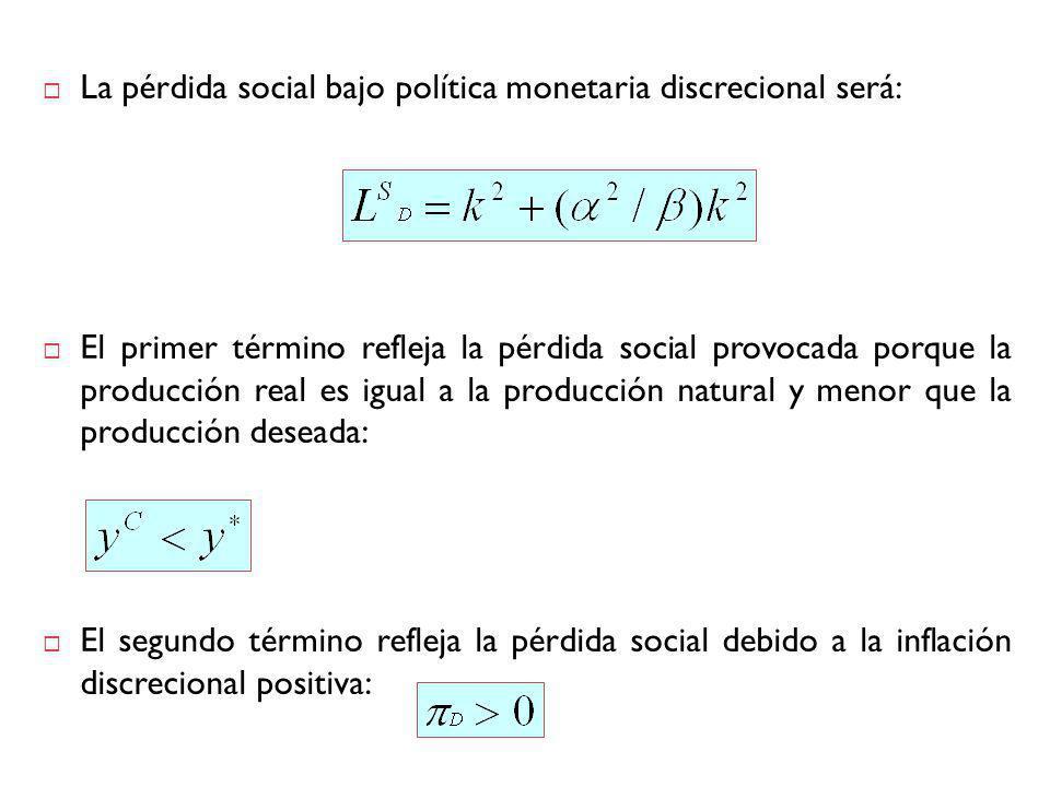 La pérdida social bajo política monetaria discrecional será: