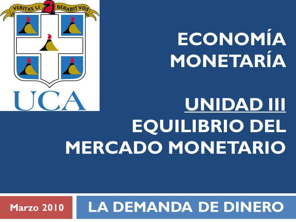 ECONOMÍA MONETARÍA UNIDAD III EQUILIBRIO DEL MERCADO MONETARIO