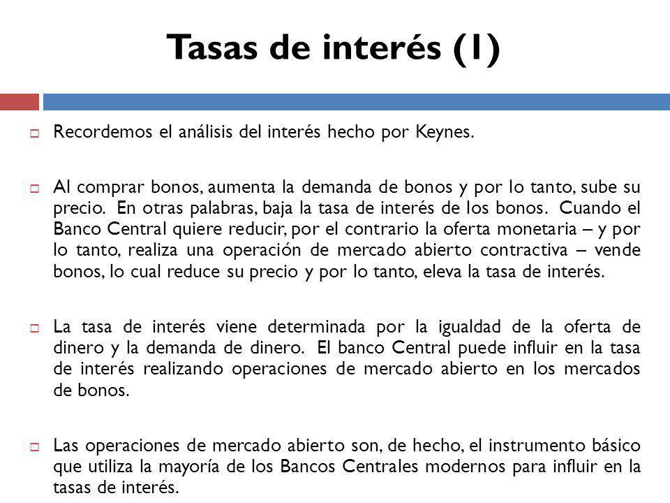 Tasas de interés (1) Recordemos el análisis del interés hecho por Keynes.