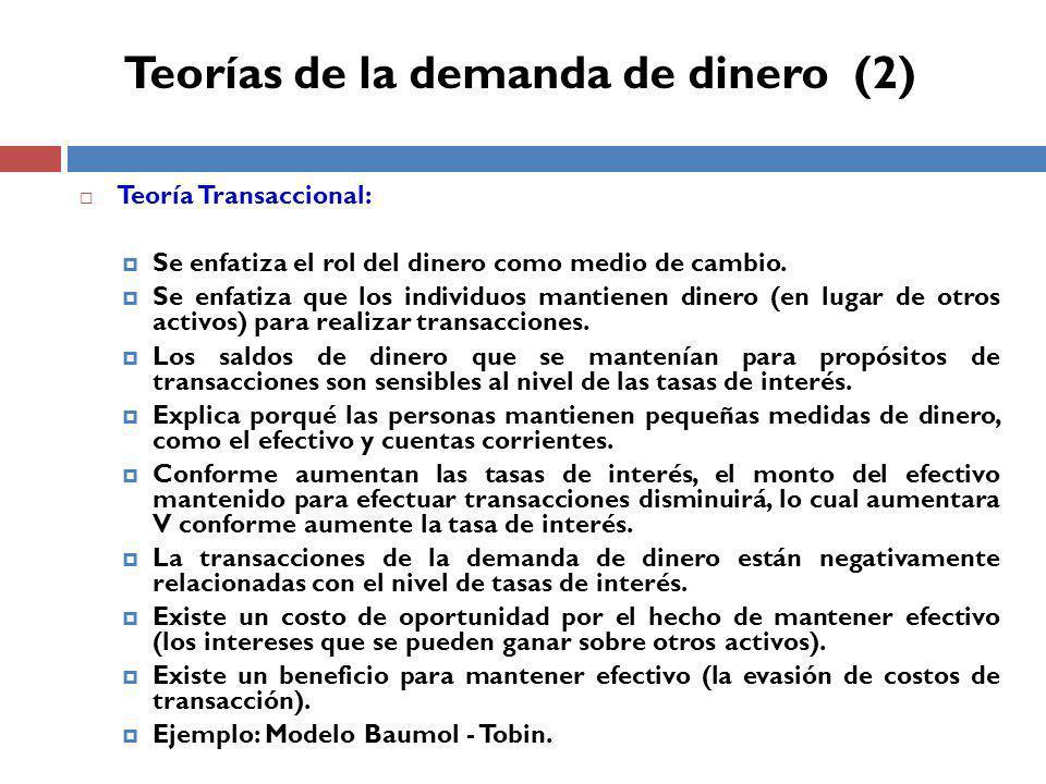 Teorías de la demanda de dinero (2)