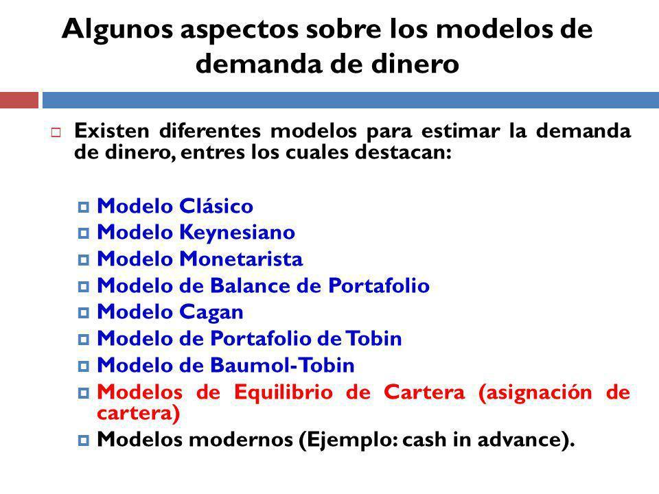 Algunos aspectos sobre los modelos de demanda de dinero