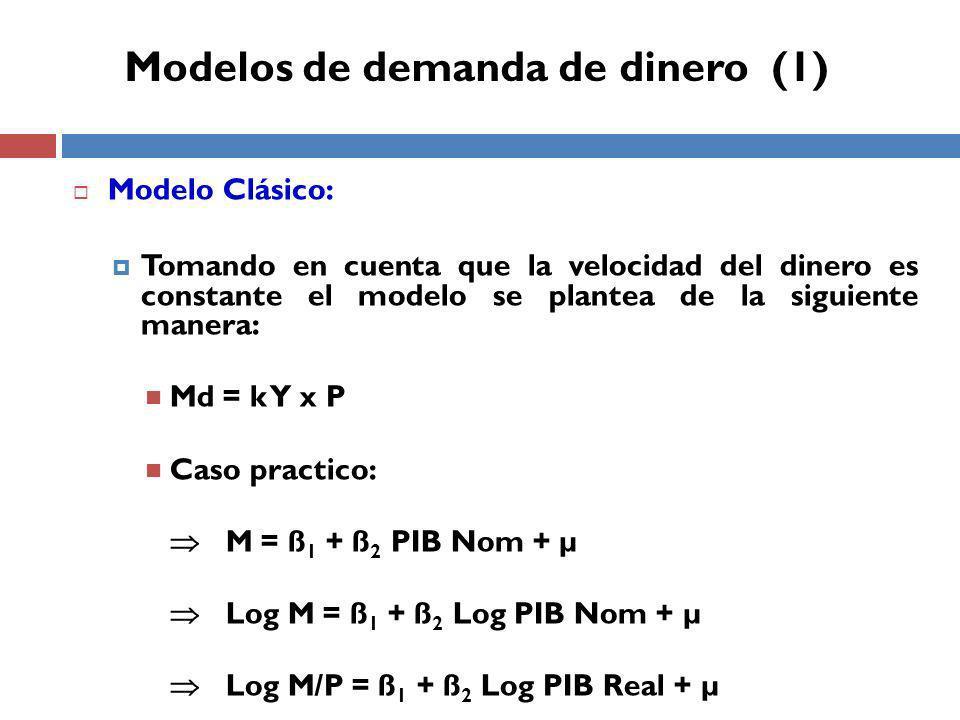 Modelos de demanda de dinero (1)