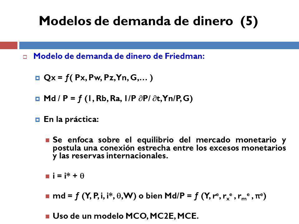 Modelos de demanda de dinero (5)