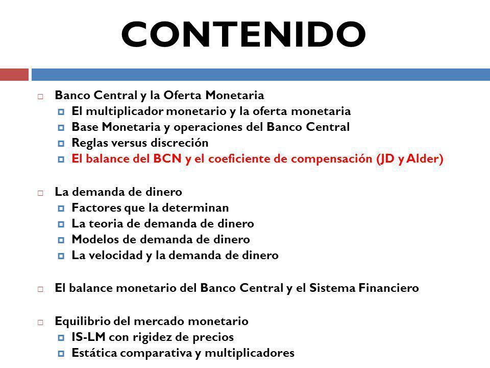 CONTENIDO Banco Central y la Oferta Monetaria