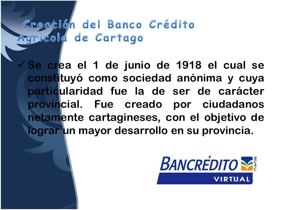 Creación del Banco Crédito Agrícola de Cartago