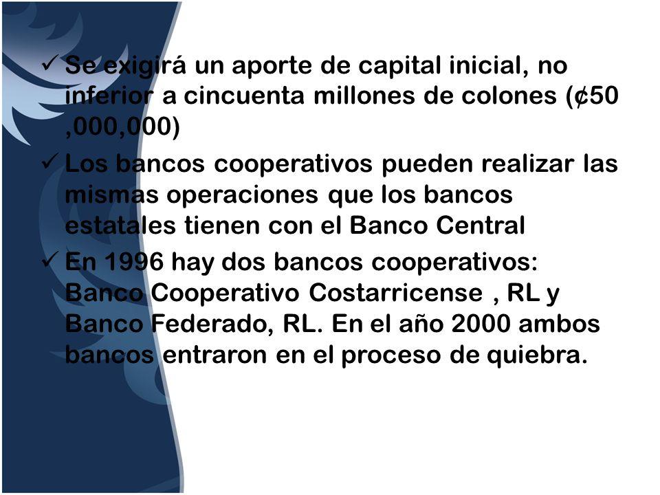Se exigirá un aporte de capital inicial, no inferior a cincuenta millones de colones (¢50 ,000,000)