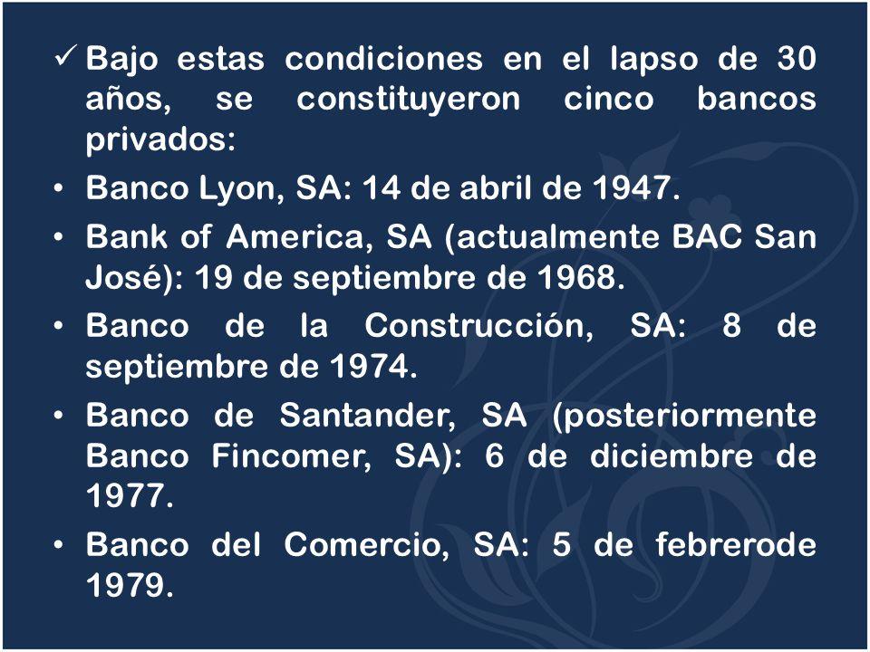 Bajo estas condiciones en el lapso de 30 años, se constituyeron cinco bancos privados: