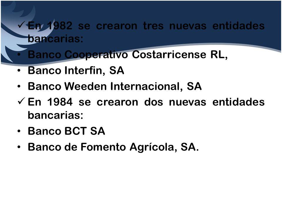 En 1982 se crearon tres nuevas entidades bancarias: