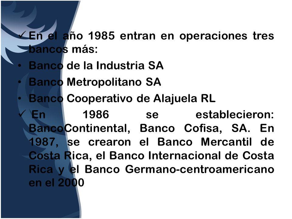 En el año 1985 entran en operaciones tres bancos más: