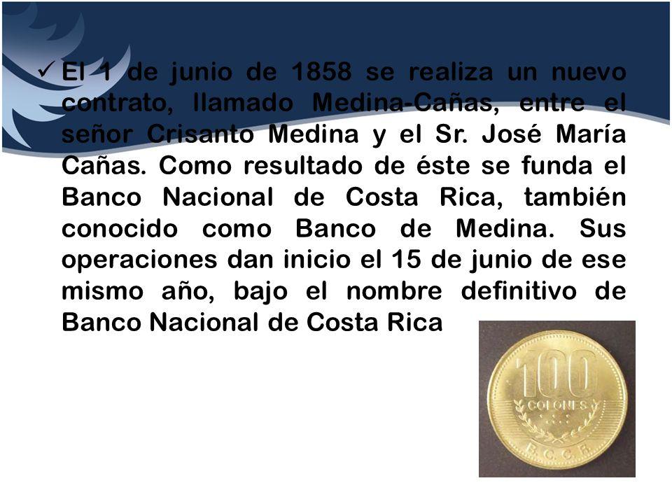El 1 de junio de 1858 se realiza un nuevo contrato, llamado Medina-Cañas, entre el señor Crisanto Medina y el Sr.