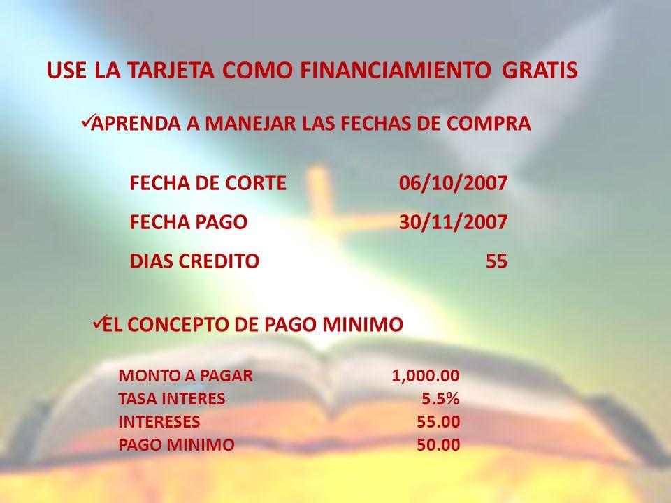 USE LA TARJETA COMO FINANCIAMIENTO GRATIS