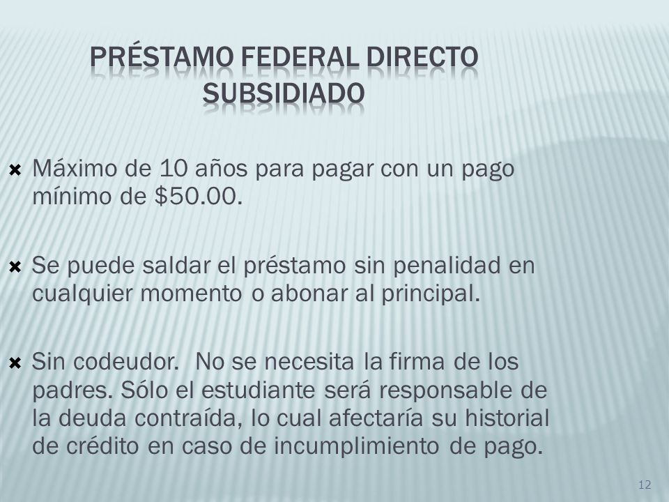 Préstamo FEDERAL DIRECTO Subsidiado
