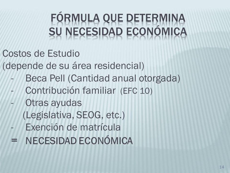 Fórmula que determina su necesidad económica